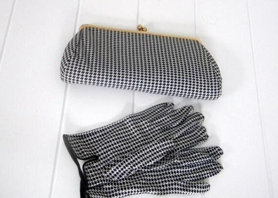 Vintage Houndstooth Clutch and Gloves Set