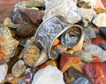 Reticulated Silver Cuff Bracelet