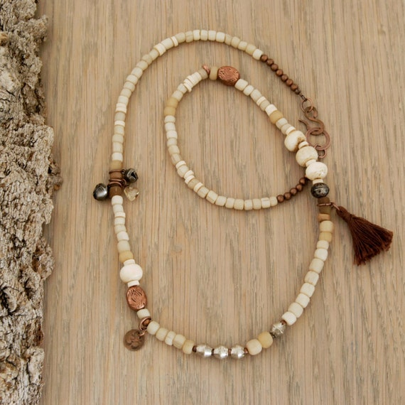 ethnic necklace with bone, glass, citrine, copper, om charm, indian bells, tassel -  Solstice
