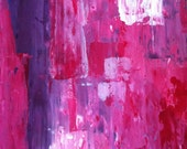 Acrylic Abstract Art Painting Purple, Pink, Red, White - Modern, Contemporary, Original 11 x 14