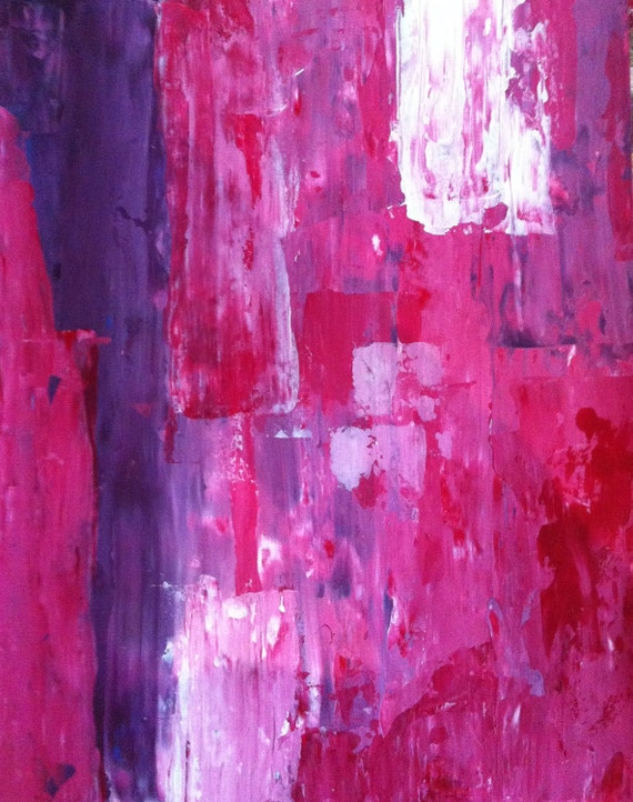 Acrylic Abstract Art Painting Purple Pink Red White