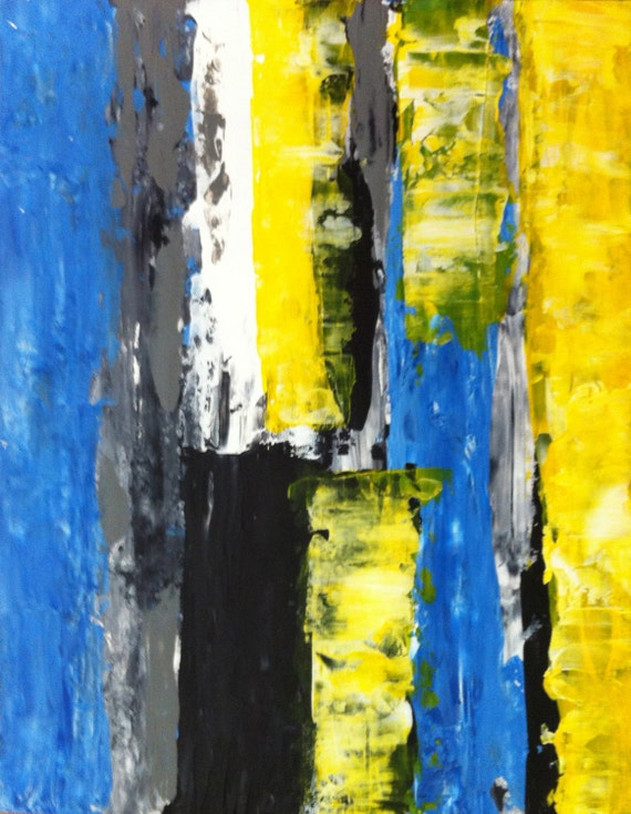 Acrylic Abstract Art Painting Yellow White Black Blue Grey Yellow Black Abstract Paintings