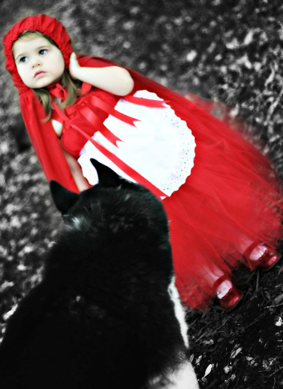 Little Red Riding hood Set, Boutique Style Tutu Dress, Pageant, OOC, Sizes NB to 6