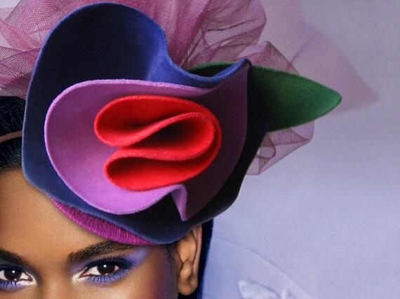 shrieking violet tilt hat fascinator