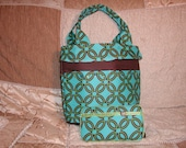 Modern Teal Diaper Bag and matching Wipe Case