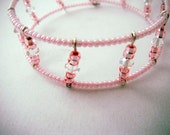 Pink Memory Wire Cuff, seed beads and Swarovski crystals on stainless steel memory wire coils, adjustable