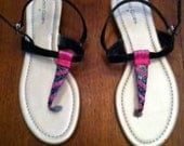 Hand designed Sandals Black Pink Blue Gold - Womens Shoe Size 7