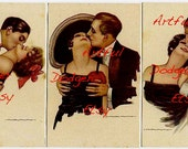 Set of Three Couple Kissing Vintage Postcard Digital Art