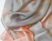 Handmade Silk Habotai Scarf in Watercolor Soft Peach with Grey by LOUIS JANE