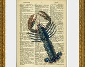 BLUE LOBSTER dictionary book page art print - an upcycled antique dictionary page with a retooled antique sea illustration - home decor