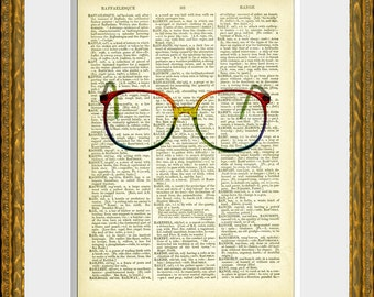 RAINBOW GLASSES recycled book page art print - an upcycled antique dictionary page with a retooled vintage glasses photograph - home decor