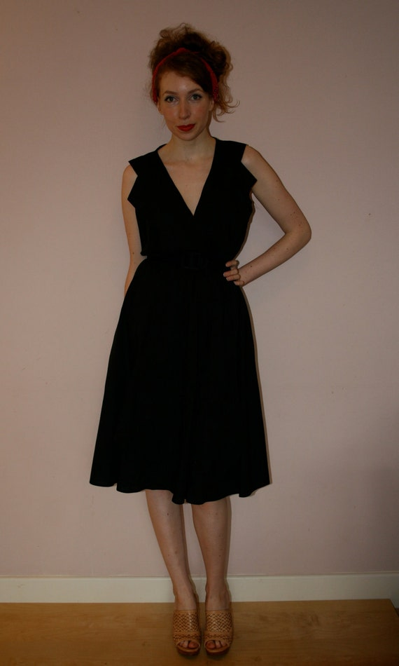 80s black dress layered pleated front with collar size M L