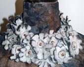 Handcrafted necklace/collar made of felted little flowers combined with glass beads