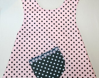 ON SALE:     Pink with grey poka dots toddler pinafore style APRON size 2T