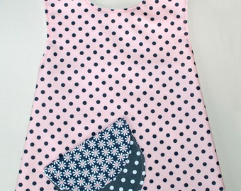 ON SALE:  Pink with grey poka dots toddler pinafore APRON  size 18 month