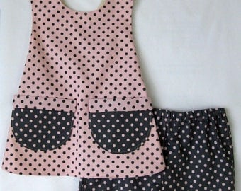ON SALE  Pink with grey poka dots toddler pinafore style outfit