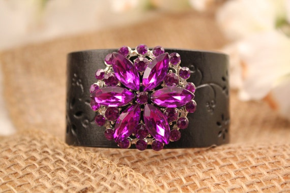 Leather Cuff Statement Bracelet with a Purple Rhinestone Brooch