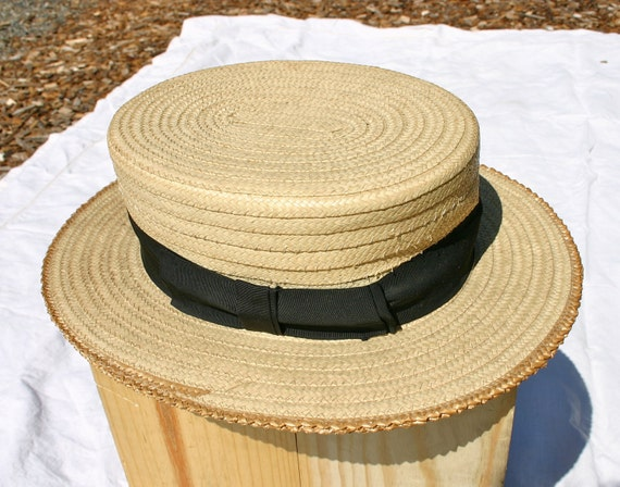 Men's straw boater hat, roaring 20's, AS IS