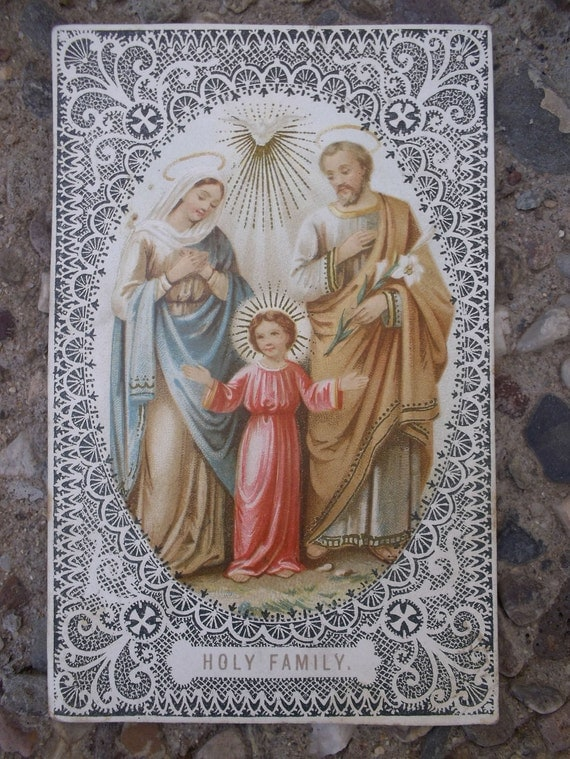 Holy Family  Prayer Card 1901 Authentic Historical
