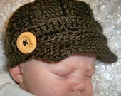 Brown Newborn to 3 months size crochet newsboy  baby boy or girl hat. Great photo prop. Easter