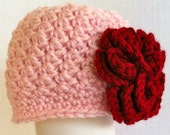 Pink and red Beautiful premie newborn baby to 24 months crochet hat with large flower. photo prop. Easter