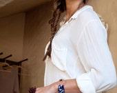Copper Mandorla Rwandan Textile Bracelet Wrap - Kaleidoscope