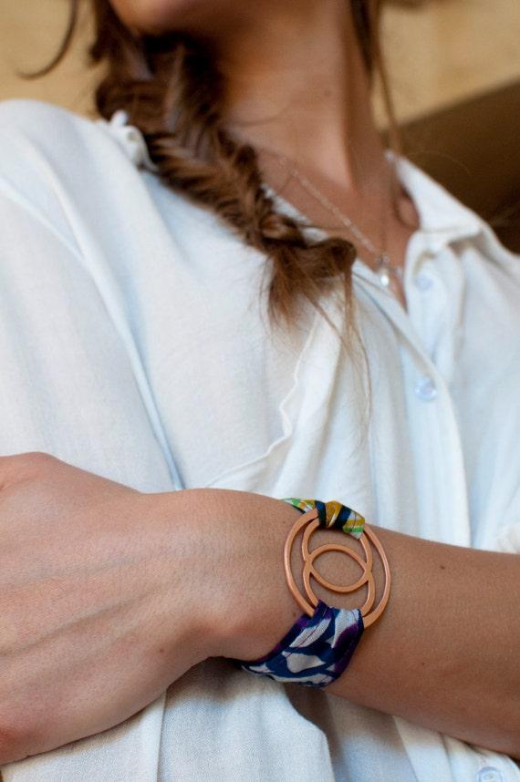 Copper Mandorla Textile Wrap Bracelet - Holiday Gift  - Arm Candy - Kaleidoscope 4/20