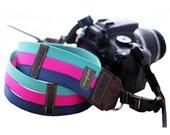 Tri Color Webbing Designer DSLR Camera Strap with Quick Release Buckles