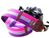 Purple & Raspberry Webbing Designer DSLR Camera Strap with Quick Release Buckles