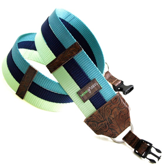 Teal, Navy, Lime Webbing Designer DSLR Camera Strap with Quick Release Buckles