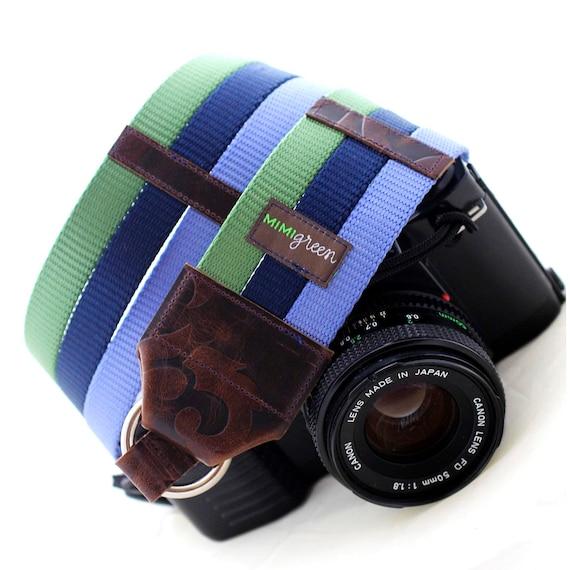 Sage, Navy & Sky Blue Webbing Designer DSLR Camera Strap with Quick Release Buckles