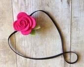 Fuschia pink wool felt rose baby headband