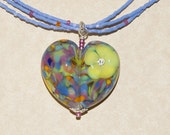 Multicolored lampwork heart pendant necklace with 3 strands of light blue glass beads - OOAK