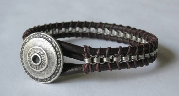 Dark brown Greek leather bracelet for men and boys with silver chain and metal button clasp, custom made for any wrist size