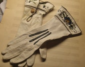 Vintage Perrin leather gloves,embroidered,made in France