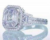 Asscher Cut Diamond Engagement Wedding Anniversary Ring