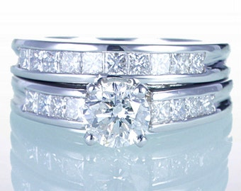 Platinum Princess Cut and Round Brilliant Cut Channel Solitaire Set Diamond Engagement Wedding Ring Set with Matching Band