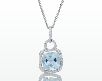 Cushion Cut Aquamarine and Diamond Pendant