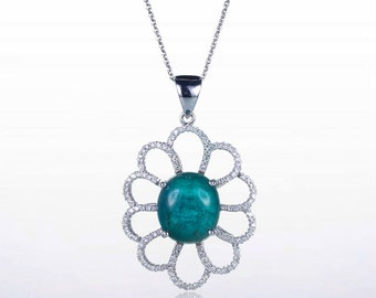 Unique Cabochon Emerald Diamond Pendant