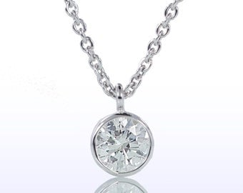 Classic Bezel Set Diamond Solitaire Pendant Necklace