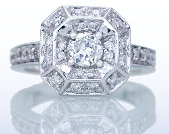 White Gold Old Miner's Cut Diamond Halo Engagement Bridal Ring with Secret Heart