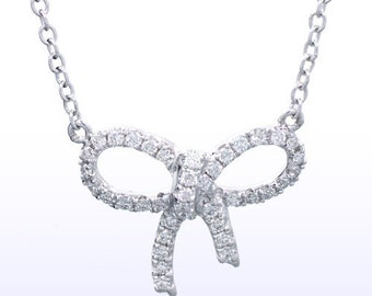 Dainty Diamond Bow Necklace