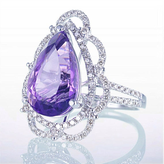 Unique Victorian Style Amethyst Pear Shape Engagement Anniversary Ring Wedding Gift