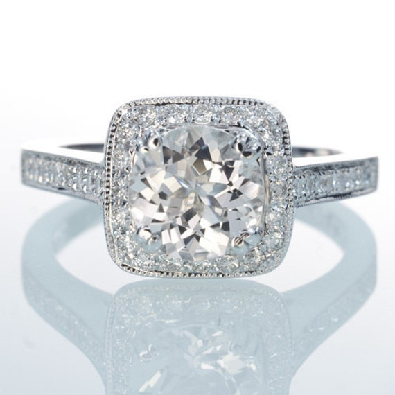 Filigree Milgrain Cushion Cut Halo Diamond Solitaire Ring