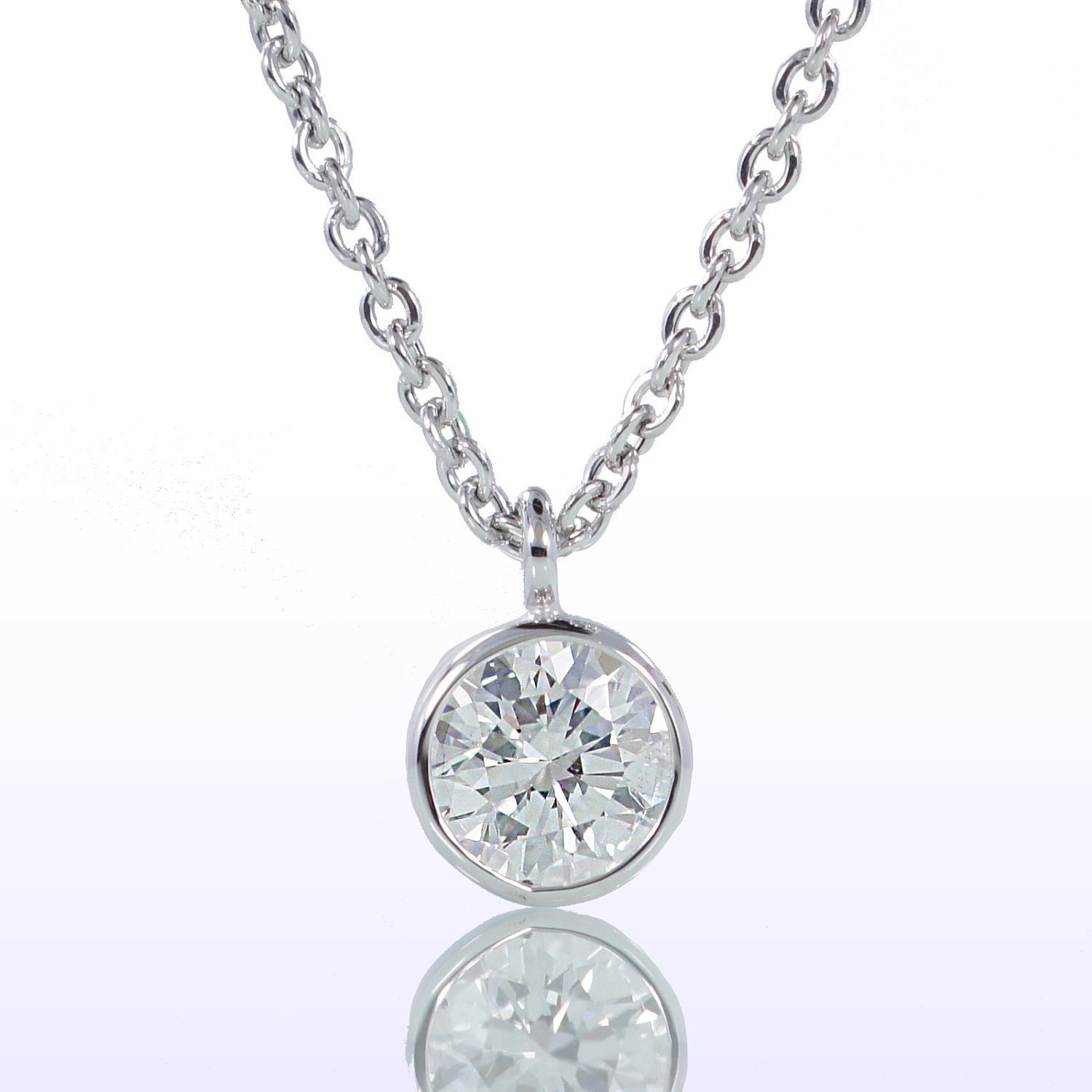 classic bezel set diamond solitaire pendant necklace. Black Bedroom Furniture Sets. Home Design Ideas