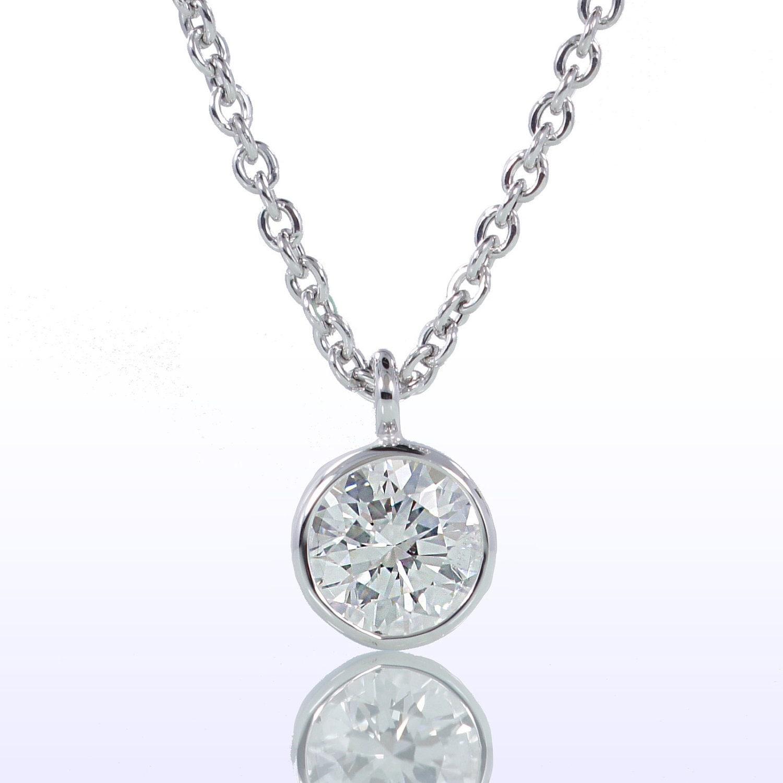 classic bezel set solitaire pendant necklace