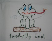 Dish Towel - Flour Sack - Hand Embroidered - Toad-ally cool