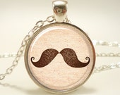 Mustache Necklace, Hipster Jewelry, Silver Plate (0478S1IN)