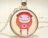 Love Monster Necklace, Cute Kawaii Kids Jewelry, Great Valentines Day Gift, Silver Plate (0490S1IN)
