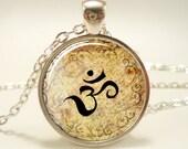 Zen Necklace, Henna Design Om Yoga Jewelry, Om Charm (0632S1IN)